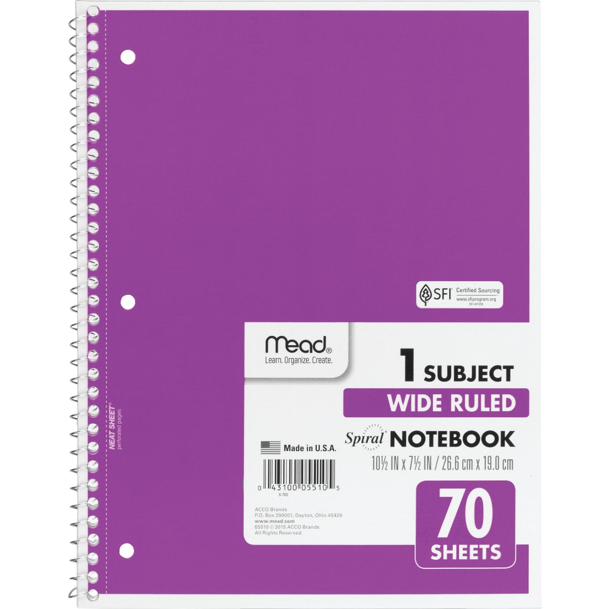 70 SHEET 8X10.5 NOTEBOOK