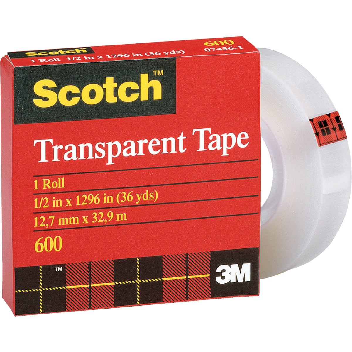 "1/2""X36YD TRANSPRNT TAPE - 600 by 3m Co"