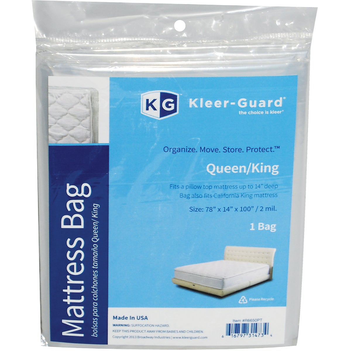 KING/QUEEN MATTRESS BAG - R6650PT by Broadway Industries
